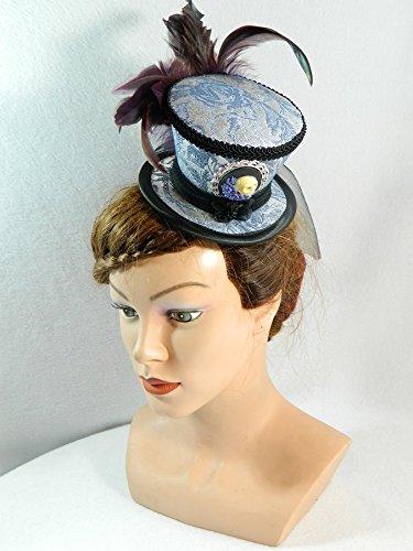 Mini Zylinder silber blau Minihat Damenhut Fascinator Hut Steampunk Dieselpunk Bibi Chapeau Hat Wedding Bridal Gothic Derby (Braut Läuft Kostüm)