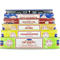 Satya Nag Champa Om Shanti Incense Set of 6 x 15 gram A6 includes: Nag Champa, Superhit, Om Shanti, Dragons Fire, Frankincense, Myrrh