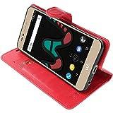 ebestStar - Wiko Upulse Lite Hülle Kunstleder Wallet Case Handyhülle [PU Leder], Kartenfächern, Standfunktion, Rot [Phone: 144 x 72 x 8.4mm, 5.2'']