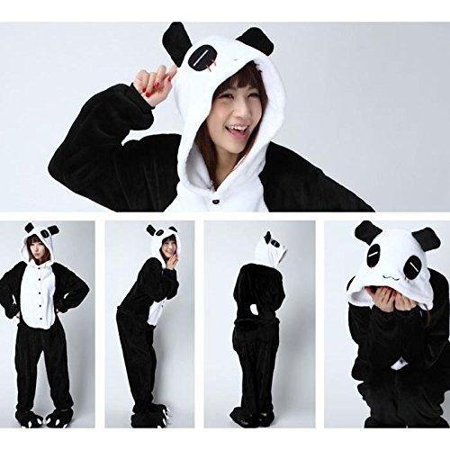 Imagen de adulto unisexo mapache cebra panda tiburón ardilla vaca caballo canguro lémur dinosaurio onesie fiesta disfraz de kigurumi con capucha pijama sudadera ropa para dormir regalo de navidad panda, l height 170cm 180cm
