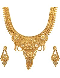 Mansiyaorange Wedding Party Collection Jewellery Neckalce Sets for Women (One Gram Golden)(9.5 inch Long)