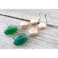 Orecchini con agata verde e perle rosa, pendenti argento 925, orecchini pietre dure, orecchini lunghi, gioielli moderni, bijoux fatti a mano