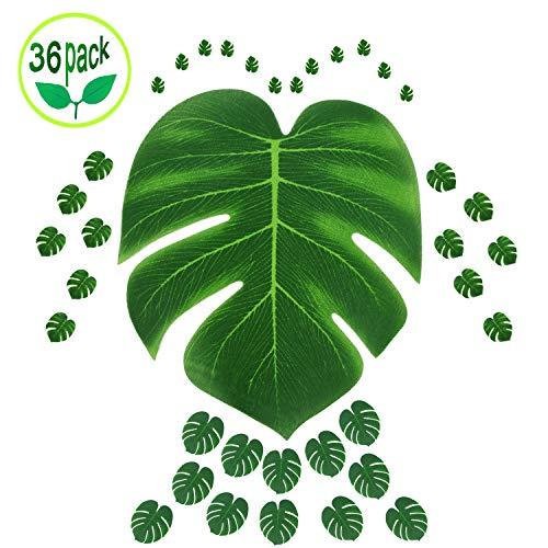 ACCBTECH 36 Stück Tropische Blätter Party Dekoration Künstliche Tropische Palme Monstera Blätter Imitation Blatt Hawaiian Luau Aloha Party Dschungel Thema BBQ Geburtstag Party Supplies 3 Größen grün