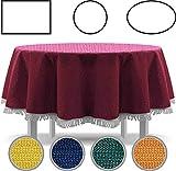 Tovaglia per tavolo da giardino con frange, per tavolo rotondo, ovale rettangolare, classico, verde, 140 x 180 cm, ovale