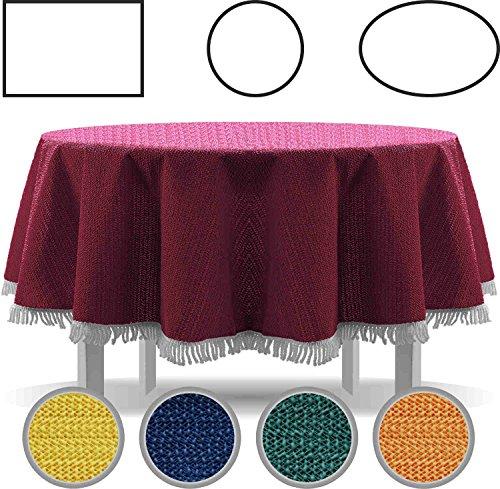 Gartentischdecke mit Fransen Tischdecke rund oval eckig Classic 160 cm rund blau (Terrasse Tisch Runde Tischdecke)