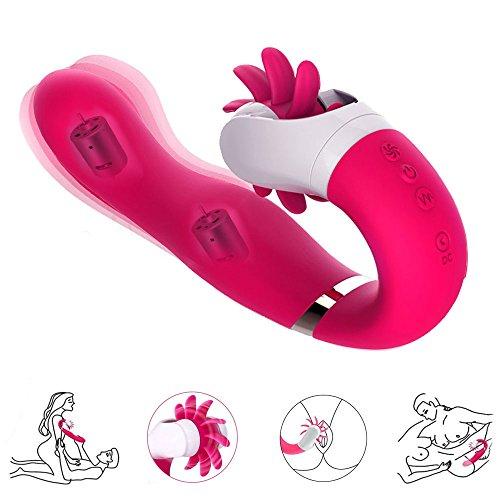 Vibratoren für sie LNABNI G Punkt Zungenlecken Rabbit Vibrator für sie Klitoris und G-punkt mit Stoßfunktion Dualer Moto Klitorisstimulator Sexspielzeug für Frauen und Paare Wasserdicht Masturbation Silikon Dildo mit 12 Modus