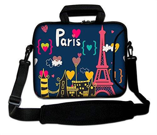 LUXBURG® 17,3 Zoll Schultertasche Notebooktasche Laptoptasche Tasche mit Tragegurt aus Neopren für Laptop / Notebook Computer - Liebliches Paris