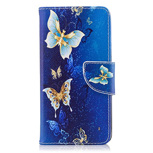 Huawei P9 Lite Mini / Y6 Pro 2017 Hülle, Hozor Flip Case Lederhülle Wallet Ledertasche Klappetui Brieftasche Schutzhülle mit Magnetverschluss Kartenfächer Standfunktion - Brilliantes Blau