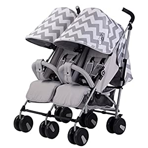 My Babiie Billie Faiers MB22 Grey Chevron Twin Stroller   13