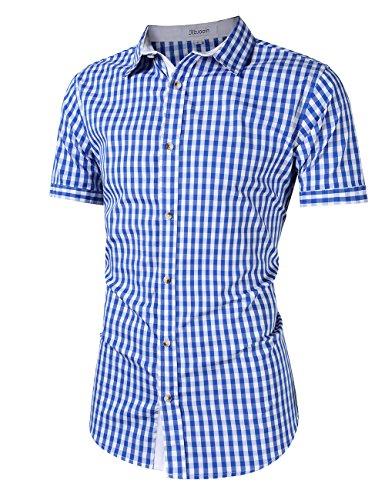 KoJooin Trachten Herren Hemd Trachtenhemd Langarmhemd Freizeithemd Baumwolle - für Oktoberfest, Business, Freizeit (2XL, Blau1) - 2