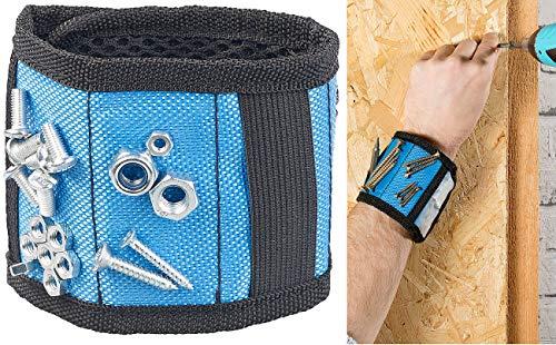 AGT Magnetarmband: Magnet-Armband für Nägel & Schrauben mit 6 Magneten, Gummizug & Tasche (Kleinteile Magnet Armbänder)