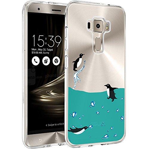 Hülle für Asus Zenfone 3 ZE520KL Cover, Wenjie Transparent Blau Pinguin Silikon Handyhülle Schutzhülle für Asus Zenfone 3 ZE520KL 5.2