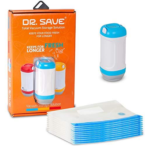 Vakuumierer mit wiederverwendbaren Lebensmittelbeuteln - luftdicht, bewahrt Reste und hält Frische fest - schnurlos, tragbar, Vakuumierer und Beutel-Set - Vakuum Gefrier-beutel
