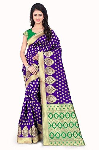 Sarees (Women's Purple & Green Banarasi Silk Saree with Blouse Piece Banarasi...
