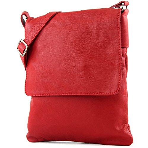modamoda de - T33 - ital Umhänge/Schultertasche aus Nappaleder, Farbe:Rot -