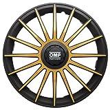 OMP OMP1312 Tapacubos Formula, Negro/Oro, Set de 4, 13'