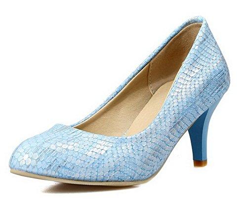 VogueZone009 Femme à Talon Correct Pointu Tire Chaussures Légeres Bleu