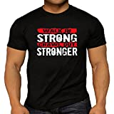 Quality Men's 'Walk in Strong, Crawl Out Stronger' Printed on Back and Front T-Shirts. Weightlifting Bodybuilding Gym Workout. 5 Size Options. (Medium, Black)