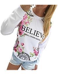 Ineternet Femmes Floral imprimer Sweatshirt Hoodies T-Shirts Manche longue vrac Blouse