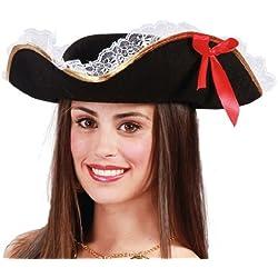 Sombrero de capitán pirata para mujer.