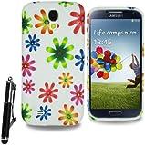 For Samsung Galaxy S4 Mini i9190 i9195 Soft Rubber Gel Skin Case Cover with Retractable Stylus Pen & Screen Film & Polishing Cloth (Rainbow Star)