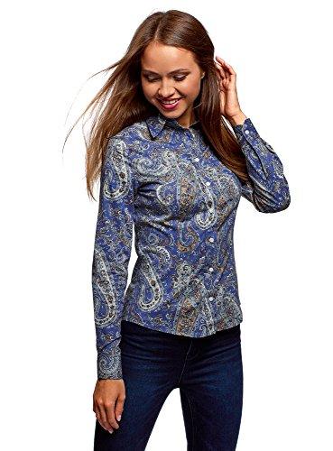 Oodji collection donna camicia in cotone con stampa paisley, blu, it 46 / eu 42 / l