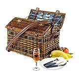 Picknickkoffer Picknickkorb aus Weide Vollausstattung mit Inhalt für 4 Personen