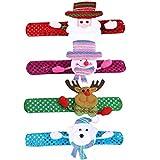 LoveLeiter 4 Stück Weihnachten Kinder Schnapparmband Slap Armband Kinder Party Armbänder Gastgeschenken Blitz Geschenk Verzierung Blinkende Weihnachtsfest Gift