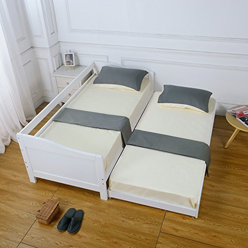 Day Bed, HST Mall Single Day Bed Guest Trundle Bed Sofa Bed Wood in White
