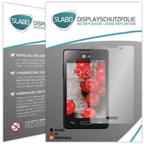 2 x Slabo Displayschutzfolie LG Optimus L4 II E440 Displayschutz Schutzfolie Folie