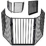 KIDUKU® Kaminschutzgitter mit Tür Metall Laufgitter Laufstall Absperrgitter Türschutzgitter für Kinder-Sicherung, 300 cm Länge, schwarz