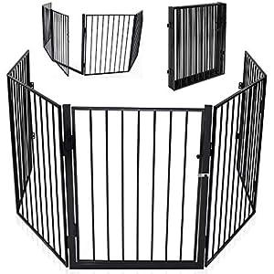 KIDUKU® Barrera de seguridad Reja de protección Quitafuegos para chimenea parque para niños corralito, longitud de 300…