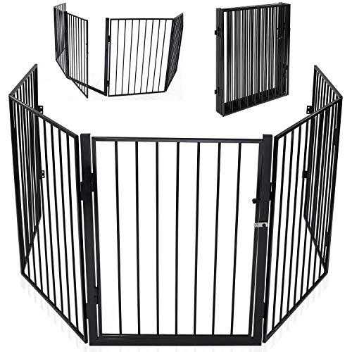 KIDUKU® Kaminschutzgitter mit Tür Metall Laufgitter Laufstall Absperrgitter Türschutzgitter für Kinder-Sicherung, 300 cm Länge, schwarz (Kamin-schutzgitter)