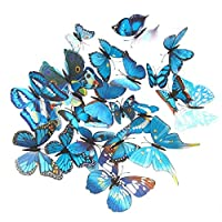 Cestlafit 3D Fashion Butterfly Wall Sticker, PVC Simulation Butterfly For Home Decor, Wall Decoration, 24 Pack