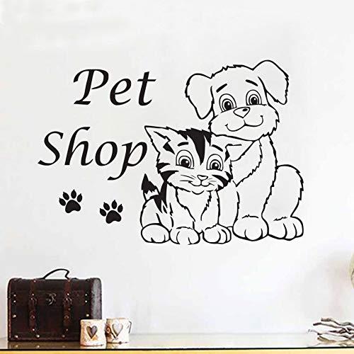 Pet Shop Cats Dog Removable Vinyl Wall Decal Sticker Grooming Salon Waterproof Wall Stickers Creative Design61cmx43cm