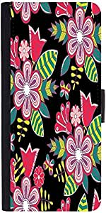 Snoogg Abstract Floral Background Designer Protective Phone Flip Case Cover For Lenovo Vibe S1