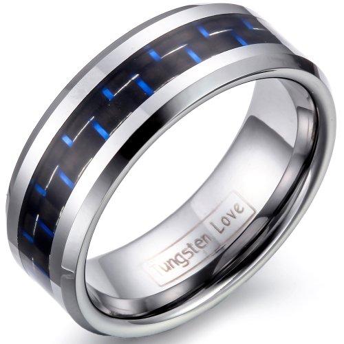 JewelryWe Schmuck 8mm Herren Ring Wolframcarbid Hochzeitsband mit Blau&Schwarz Kohlenstoff Faser Einlage Verlobungsring Ringe Größe 62 (Herren Schwarz Kohlenstoff Faser Ring)
