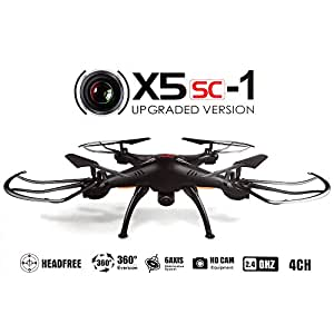 Syma X5SC/X5SC-1 Falcon Drone HD 2.0MP Camera 4 Channel 2.4G Remote Control Quadcopter 6 Axis 3D Flip Fly UFO 360 Degree Eversion With 4GB SD Card (Black)