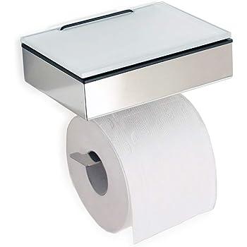 Toilettenpapierhalter Mit Feuchttücherbox : wc rollenhalter toilettenpapierhalter mit wei er abstellfl che ablage aus glas l made in ~ A.2002-acura-tl-radio.info Haus und Dekorationen