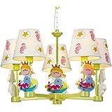 Mediterráneo Cartoon sirena Kid 's habitación luces de lámpara de techo colgante de dormitorio de niña Princesa habitación luces lámpara de araña