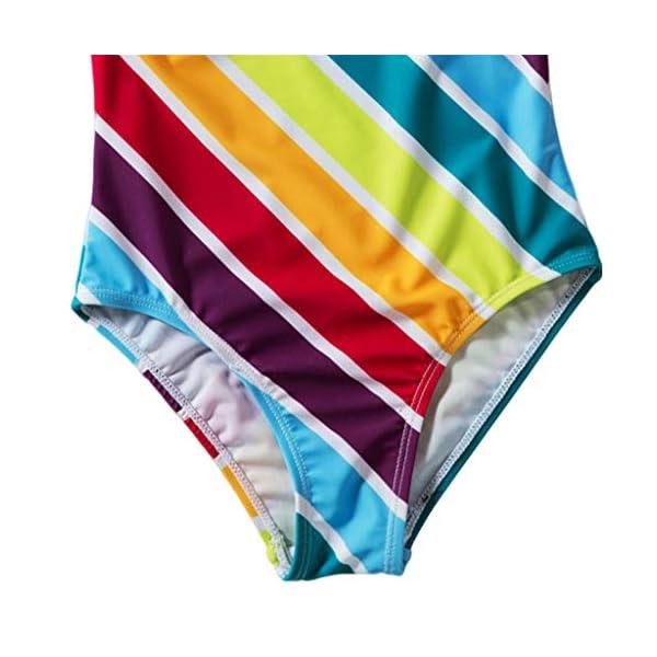 Heetey - Traje de baño para niña, Bikini para niña, diseño de Rayas Multicolor con triángulo y Hombros Anchos 3