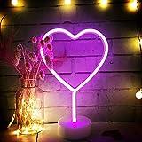 AIZESI Herz Led Lampe Leuchtreklamen,hören Dekor Halter Neon Lichter,Batterie & USB-Powered Dual Use Neon Lampen für Kinderzimmer Dekorationen Geburtstag Party, Wohnzimmer,Hochzeit Badezimmer Party(Pink Heart USB)