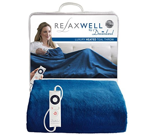 Relaxwell by Dreamland Luxury Velvety Heated Throw (Teal) Best Price and Cheapest