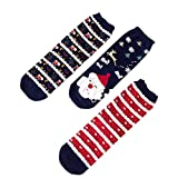 Chaussettes Noël Femmes Cartoon Animal Motif Hiver Chaussettes Casual Père Noël Arbre de Noël Bonhomme de neige ---- 3 paires Chaussettes pour Noël Coffrets cadeaux