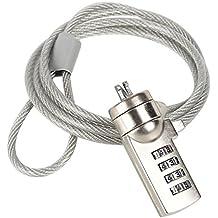 I3C Cavo di Sicurezza per Computer Portatile Cable Lock Lucchetto Antifurto Serratura a Combinazione Staffa di Bloccaggio per Notebook LAPTOP PC 120cm Acciaio - Argento