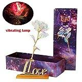 sunnymi  Beleuchtung Lampe Galaxis Rose Love Base Immerwährender Crystal Muttertagsgeschenk Die Beste Wahl (Vibrierende Lampe)