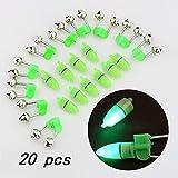 Ángulo de lámpara LED doble anillo con dos campanas pesca engranaje varilla de pesca chip alarma anillo de pesca entusiasta amor verde verde 20pcs