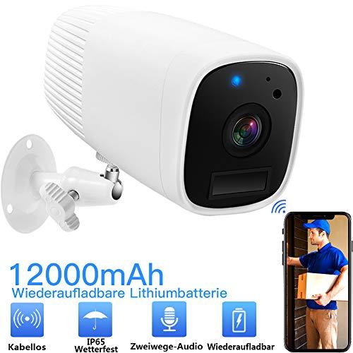 WLAN Akku Überwachungskamera Kabellose 1080 HD IP Kamera Mit Zwei Wege Audio Bewegungserkennung und Infrarot Nachtsicht,Push Alarme, IP65Wasserdichtfür Innen Außenbereich-BG ANGEL