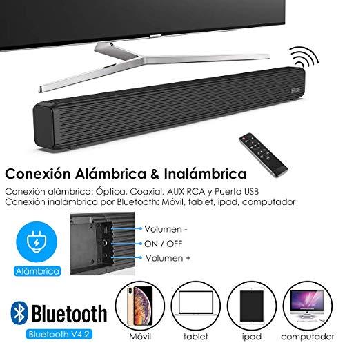 51tOUxpFr8L - Barra de Sonido, Wellwerks 95W Altavoz de Audio para TV Bluetooth V4.2 [Conexiones Alámbrico/Inalámbrico] Bluetooth Sound-Bar Subwoofer para TV/Computer/Video/Music,etc. (95W)