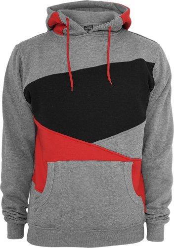 Urban Classics -  Felpa con cappuccio  - Uomo Grey/Red/Black